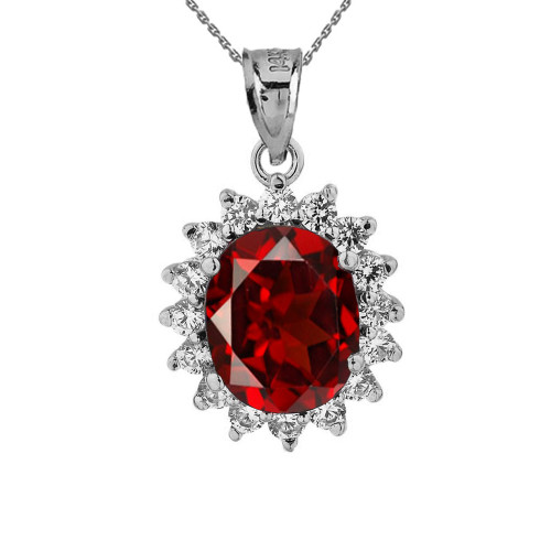 Diana Inspired Halo Personalized Birthstone Pendant Necklace in White Gold