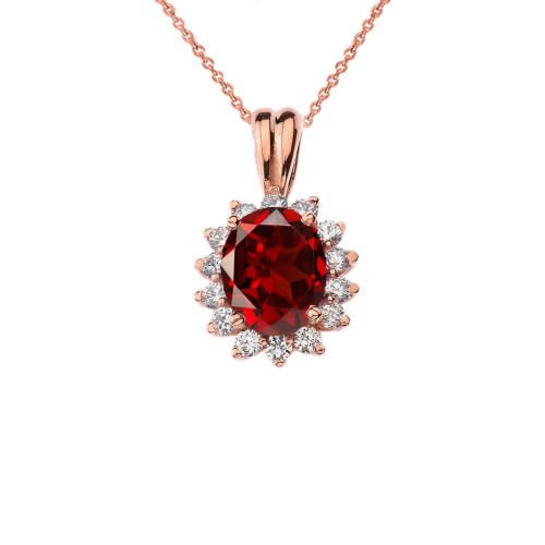 Princess Diana Inspired Halo Personalized Semi Precious Birthstone Pendant Necklace in Rose Gold