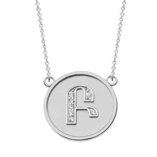 """14K Solid White Gold Armenian Alphabet Diamond Disc Initial """"B"""" or """"P"""" Necklace"""