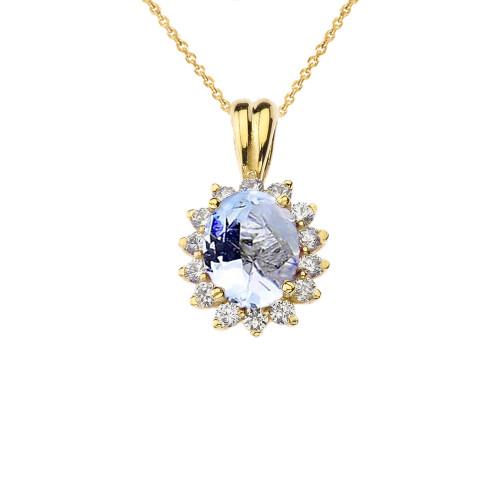 Princess Diana Inspired Halo Personalized (LC) Birthstone Pendant Necklace in Yellow Gold