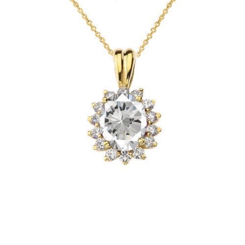 Princess Diana Inspired Halo Personalized CZ  Birthstone & Diamond Pendant Necklace in Yellow Gold
