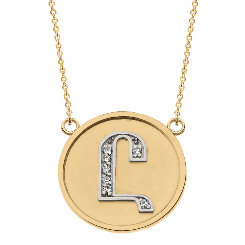"""14K Solid Two Tone Yellow Gold Armenian Alphabet Diamond Disc Initial """"Uh"""" Necklace"""
