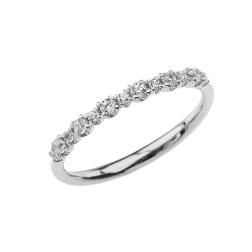 Dainty Fashion Chic Cubic Zirconia Ring in White Gold
