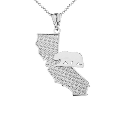 California State Map With Grizzly Bear Silhouette in Sterling Silver