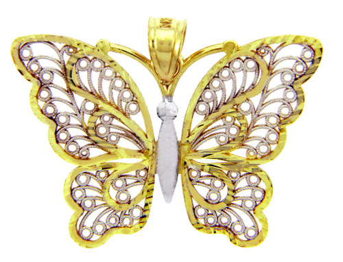 Gold Pendants - The Parvana Butterfly Two-Tone Gold Pendant