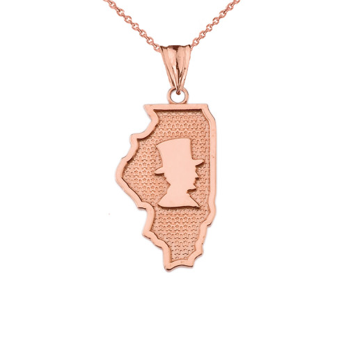 Illinois The Land of Lincoln State Map Silhouette in Rose Gold