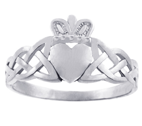 White Gold Claddagh Ring with Trinity Band.  Available in 10k and 14k White Gold.