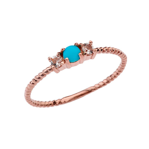 BoHo Elegant Turquoise and White Topaz Stackable Rope Ring in Rose Gold