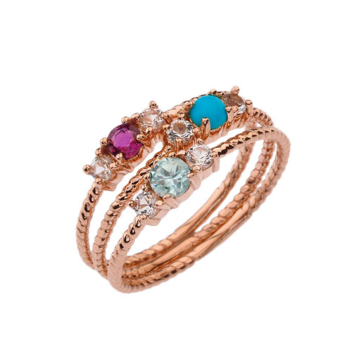 BoHo Elegant Gemstone Stackable Rope Ring in Rose Gold