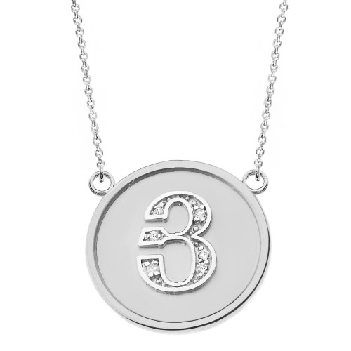 """14K Solid White Gold Armenian Alphabet Diamond Disc Initial """"Y"""" Necklace"""