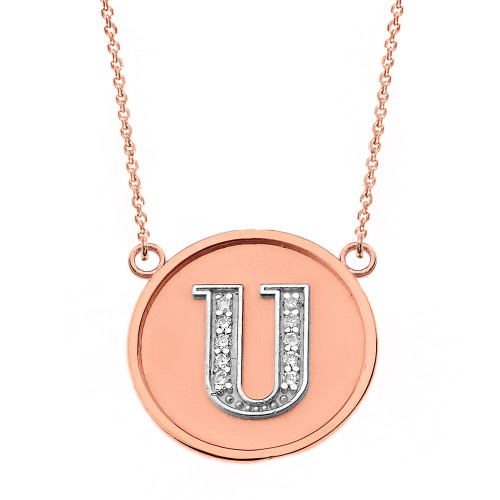 """14K Solid Two Tone Rose Gold Armenian Alphabet Diamond Disc Initial """"S"""" Necklace"""