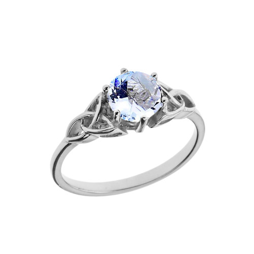 Trinity Knot Personalized Birthstone Engagement/Proposal Ring in White Gold