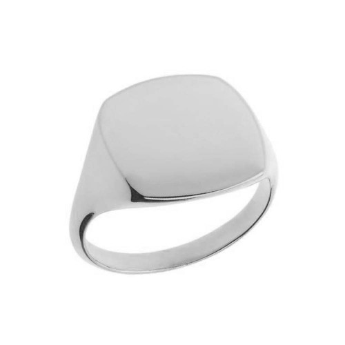 Comfort Fit Square Signet Ring in White Gold
