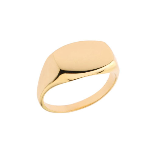 Comfort Fit Rectangular Signet Ring in Yellow Gold