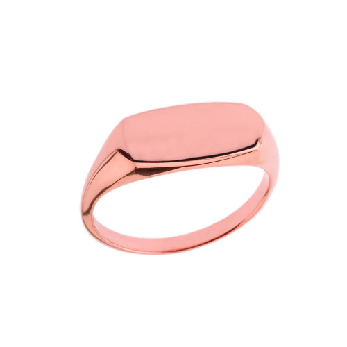 Comfort Fit Narrow Rectangular Signet Ring in Rose Gold