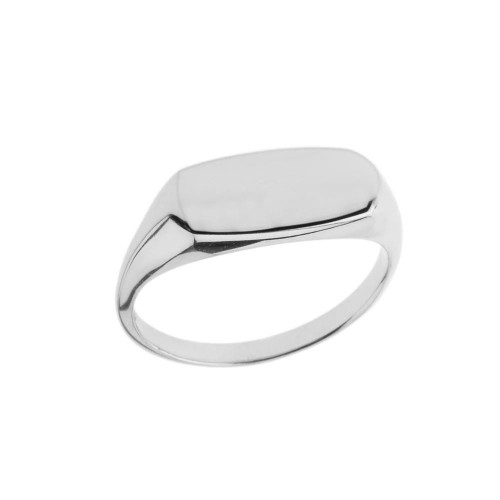 Comfort Fit Narrow Rectangular Signet Ring in White Gold