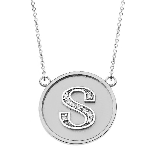 """14K Solid White Gold Armenian Alphabet Diamond Disc Initial """"T"""" or """"D""""  Necklace"""