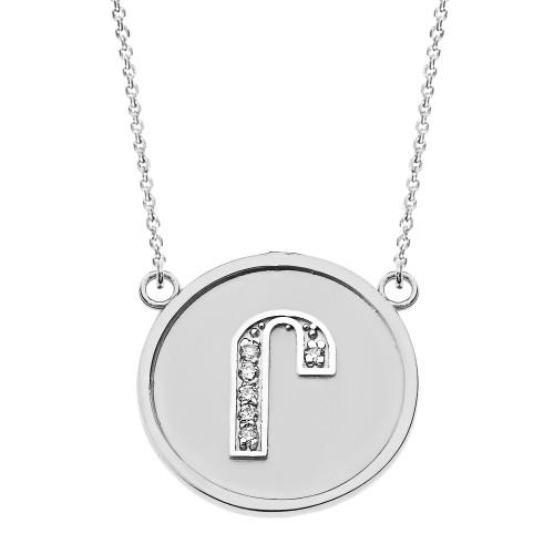 "14K Solid White Gold Armenian Alphabet Diamond Disc Initial ""Ru""  Necklace"