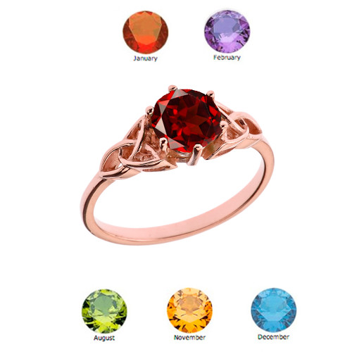 Trinity Knot Personalized Genuine  Birthstone Engagement/Proposal Ring in Rose Gold