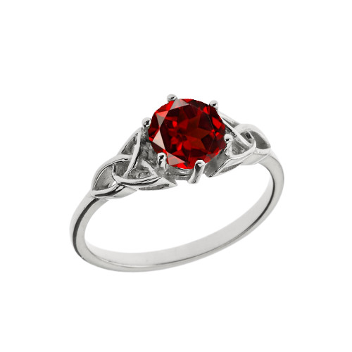 Trinity Knot Personalized Genuine Birthstone Engagement/Proposal Ring in White Gold