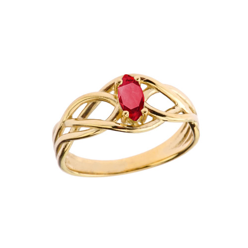 Celtic Knot Genuine Ruby Ring in Yellow Gold
