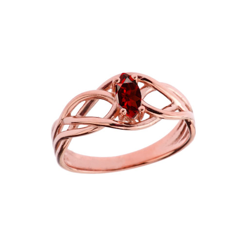 Celtic Knot Lab Created Garnet Ring in Rose Gold