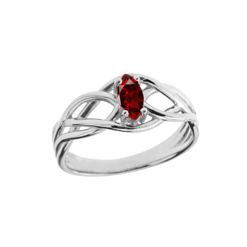 Celtic Knot Lab Created Garnet Ring in White Gold