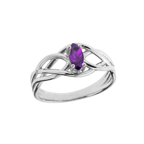Celtic Knot Lab Created Amethyst Ring in White Gold