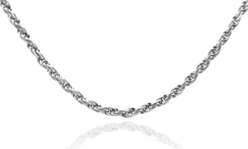 Gold Chains: Rope Solid Diamond Cut White Gold Chain 1mm