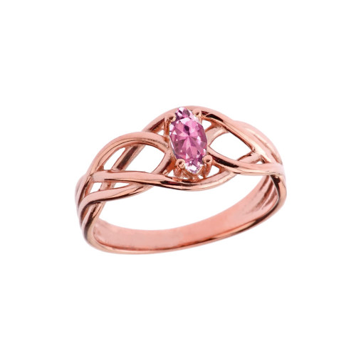 Celtic Knot Pink Cubic Zirconia Ring in Rose Gold