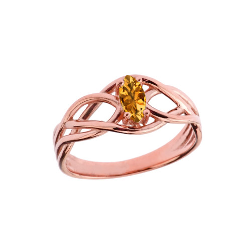Celtic Knot Lab Created Citrine Ring in Rose Gold