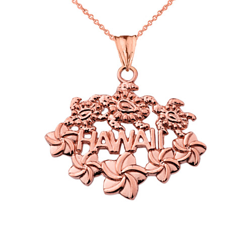 Aloha State Hawaii Pendant Necklace in Rose Gold