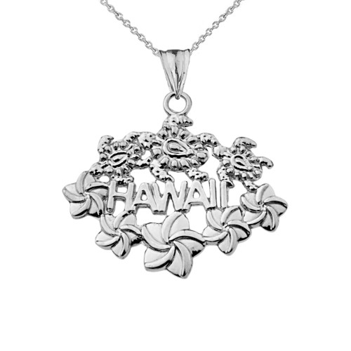 Aloha State Hawaii Pendant Necklace in Sterling Silver