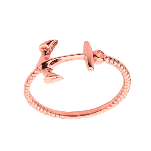 Dainty Sideways Anchor Rope Ring in Rose Gold