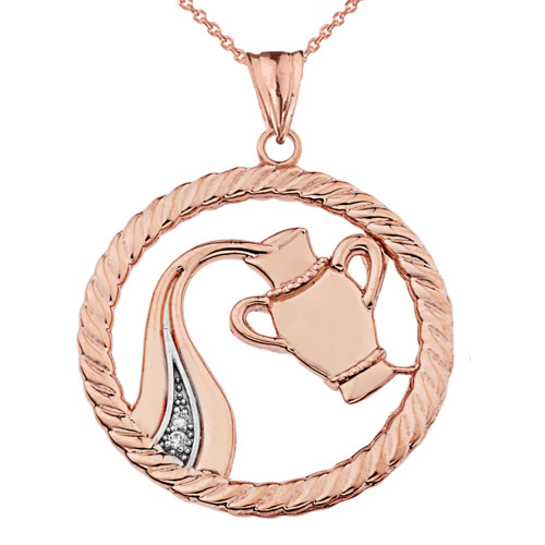 Diamond Aquarius Zodiac in Rope Pendant Necklace in Rose Gold