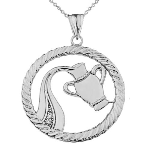 Diamond Aquarius Zodiac in Rope Pendant Necklace in Sterling Silver