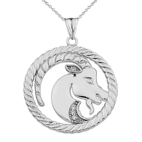 Diamond Capricorn  Zodiac In Rope Pendant Necklace In White Gold