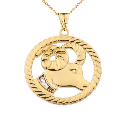 Diamond Aries Zodiac In Rope Pendant Necklace In Yellow Gold