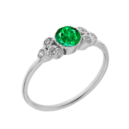 Dainty Chic Lab Created Emerald and White Topaz Promise Ring in White Gold
