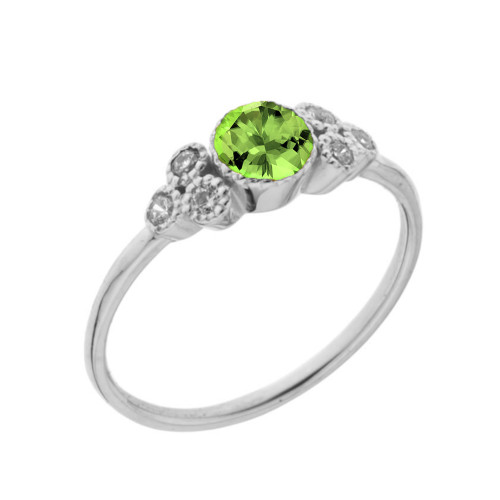 Dainty Chic Genuine Peridot and White Topaz Promise Ring in White Gold