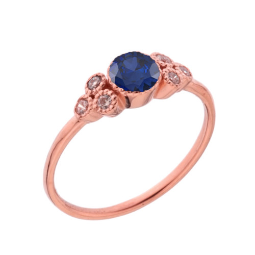 Dainty Chic Lab Created Sapphire and White Topaz Promise Ring in Rose Gold