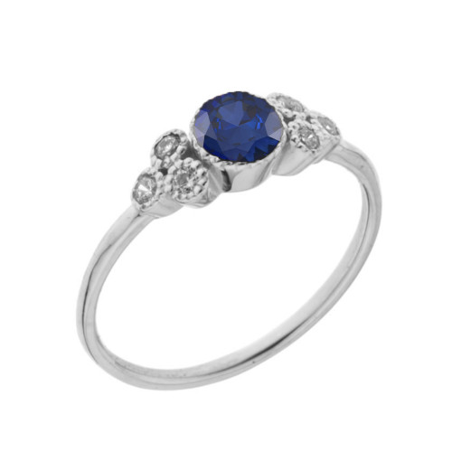 Dainty Chic Lab Created Sapphire and White Topaz Promise Ring in White Gold