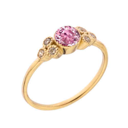 Dainty Chic Pink Cubic Zirconia and White Topaz Promise Ring in Yellow Gold