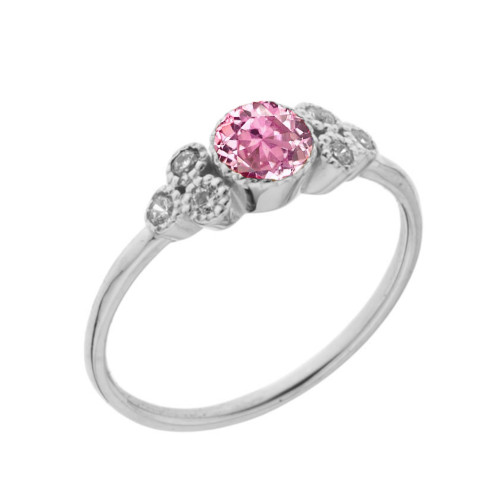 Dainty Chic Pink Cubic Zirconia and White Topaz Promise Ring in White Gold