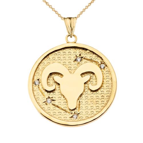 Designer Diamond Aries Constellation Pendant Necklace in Yellow Gold