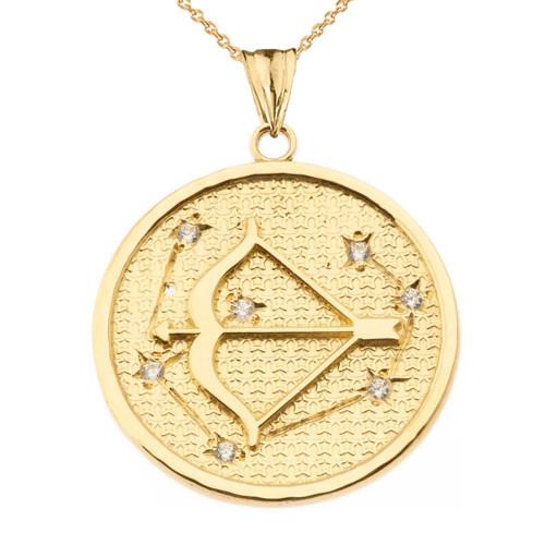 Designer Diamond Sagittarius Constellation Pendant Necklace in Yellow Gold