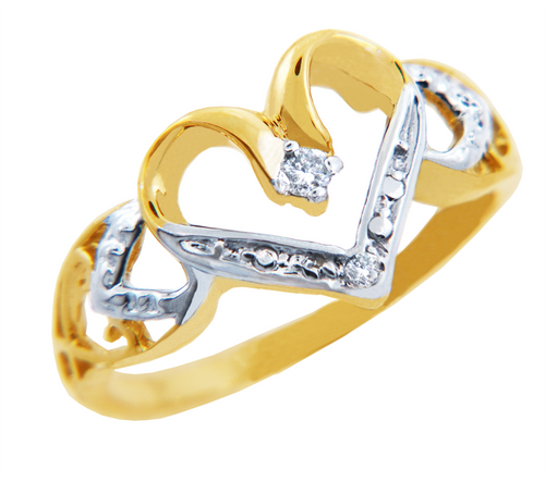 Valentines Special - Heart Ring in Two Tone Gold with 2 Diamonds