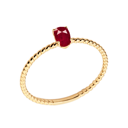 Dainty Genuine Ruby Oval Rope Ring in Yellow Gold
