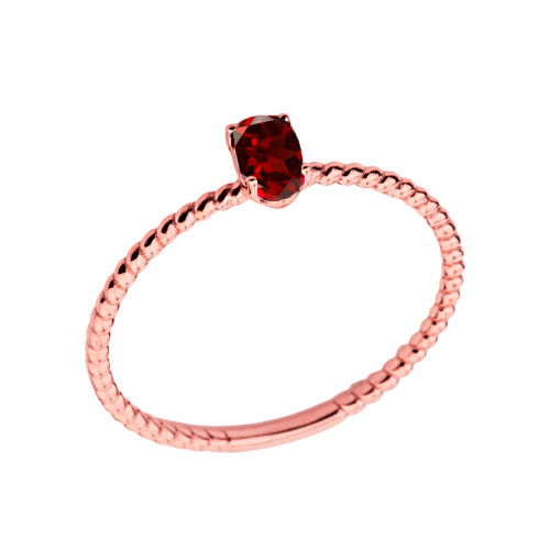 Dainty Genuine Garnet Oval Rope Ring in Rose Gold