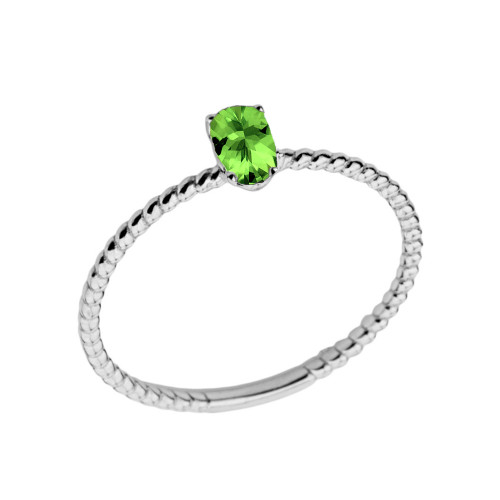 Dainty Genuine Peridot Oval Rope Ring in White Gold